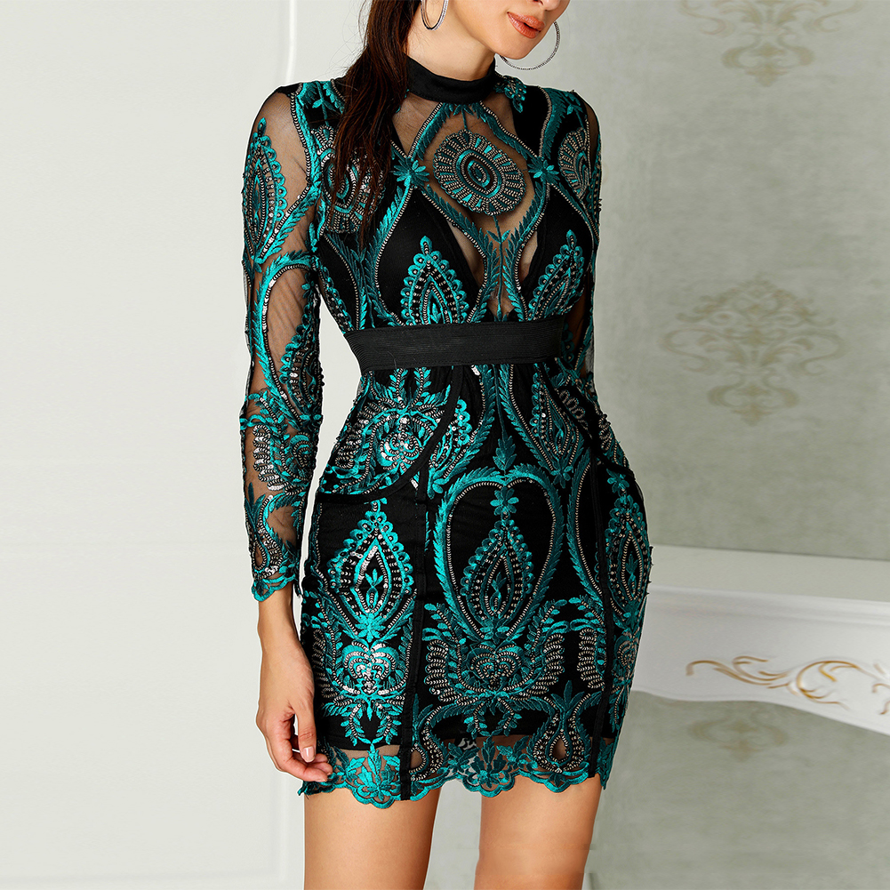 Women Dress Evening Party Long Sleeve Pleated Sequin Autumn Lace Embroidery Best Gift Mini Beautiful Charming Bodycon Slim Fit