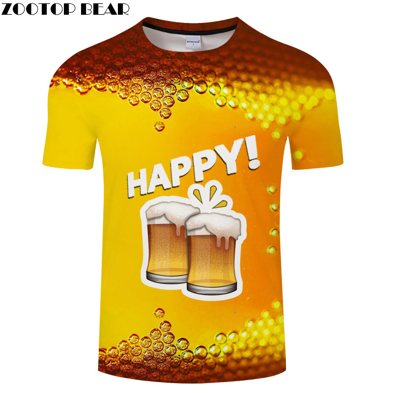 Beer Bubble t shirt Travel tshirt Men Vacation t-shirt 3D Tops Tees Funny Short Sleeve Shirts 6XL Streetwear Dropship ZOOTOPBEAR