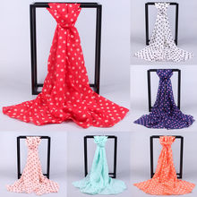 NewBest Quality Women Long Wrap Shawl Polka Dot Chiffon Scarf Scarves Stole beach towel ponchos capes frauen schal seide(China)