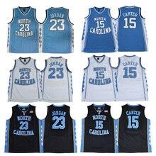 634f9a914c3 Men's #23 Michael Jordan #15 Vince Carter University of North Carolina  Jersey Blue White