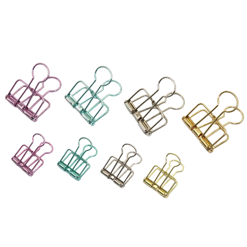 4 Pcs  Novelty Solid Color Hollow Out Metal Binder Clips Notes Letter Paper Metal Clips Office Supplies Folder
