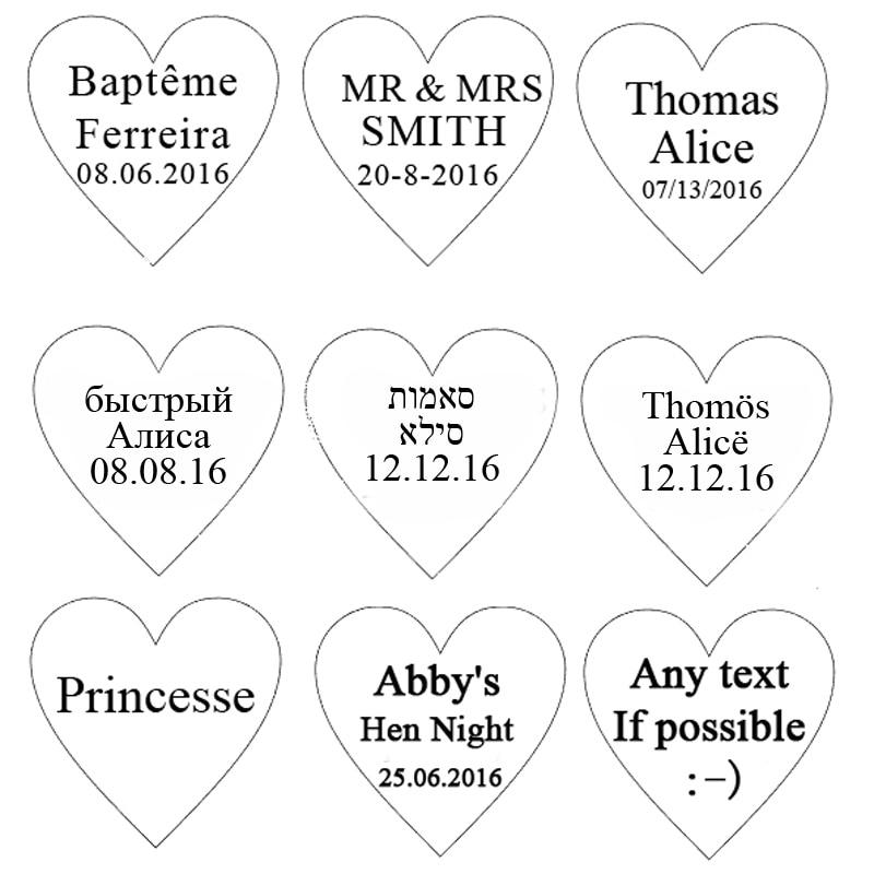 60 piezas personalizadas grabadas Mini Love Heart Wedding Table - Para fiestas y celebraciones - foto 2