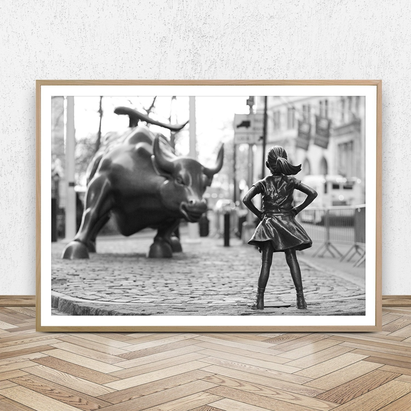 Fearless Girl Statue Black And White Feminism Poster New York Canvas Prints Feminist Girl Power Art Canvas Painting Wall Decor