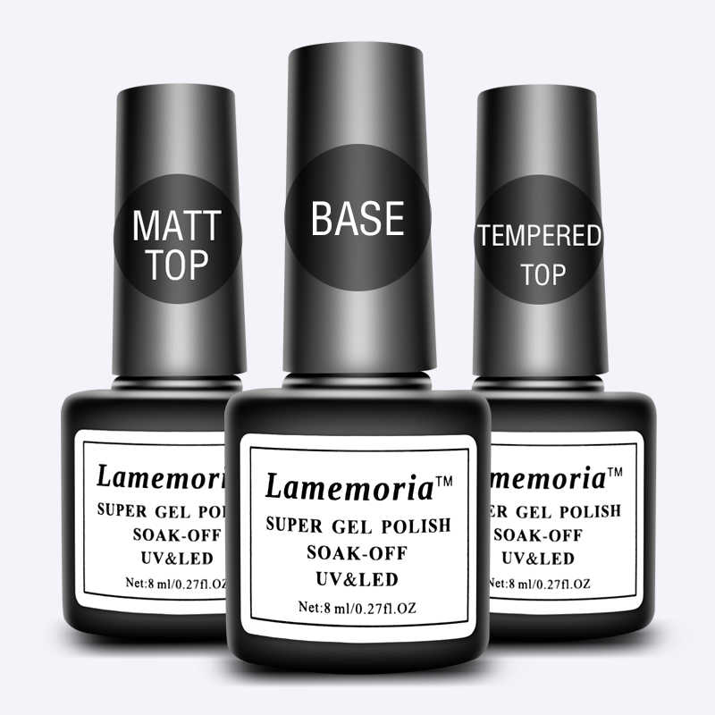 Lamemoria Top Base Coat Gel Polish Sealer Losweken Matt/Gehard Top 8 Ml Langdurige Nail Art Manicure uv Gel Lak Vernis Prime