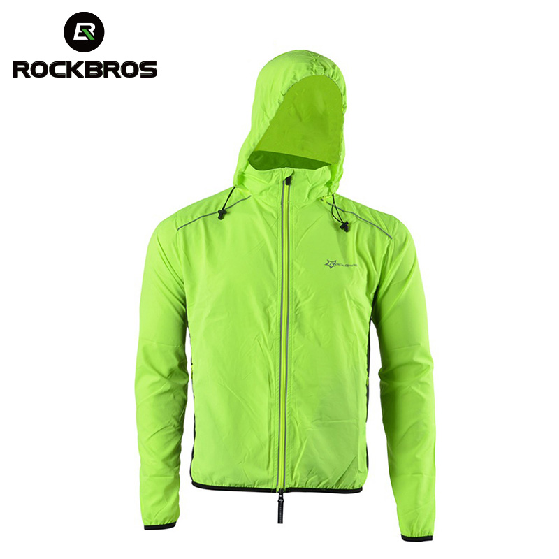 ROCKBROS Reflective Jacket Hood Cycling Sport Jackets Breathable Bike Bicycle Jacket Long Sleeve Windproof Wind Coat Quick Dry