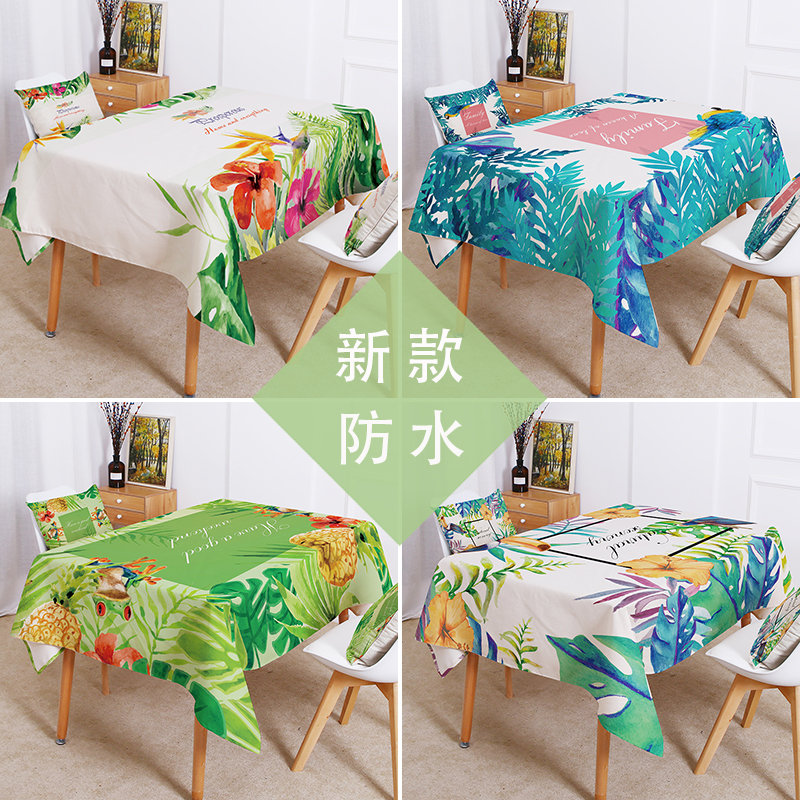 Green tropical plant leaves table cloth Waterproof linen Color watercolor flowers Home Decoration tablecloth Cover For Living
