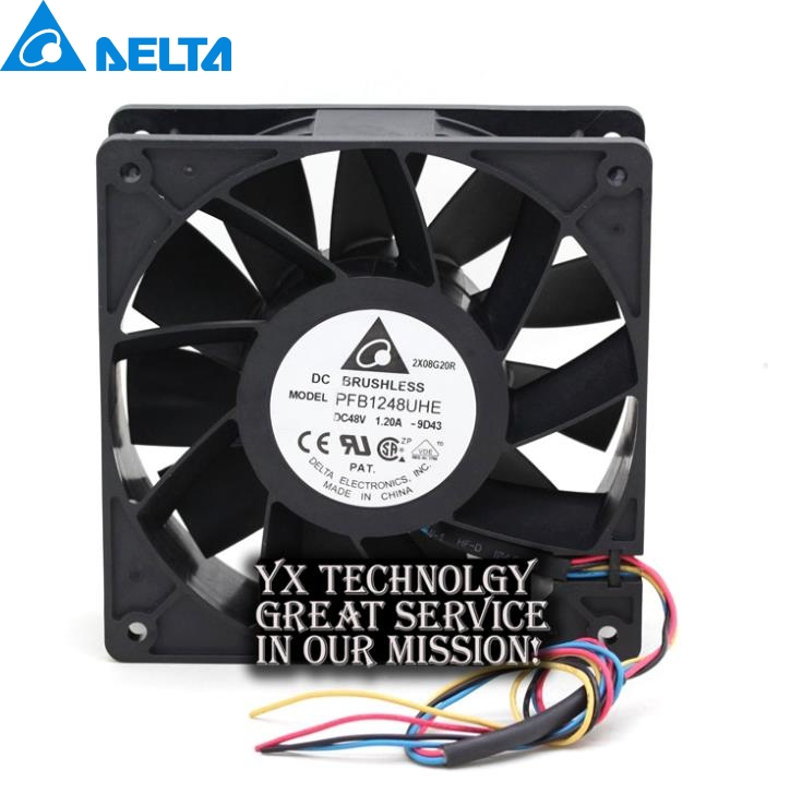 Delta New PFB1248UHE 120*120*38mm 12038 48V 1.20A four winds of wire PWM fan for delta afb1212hhe 12038 12cm 120 120 38mm 4 line pwm intelligent temperature control 12v 0 7a