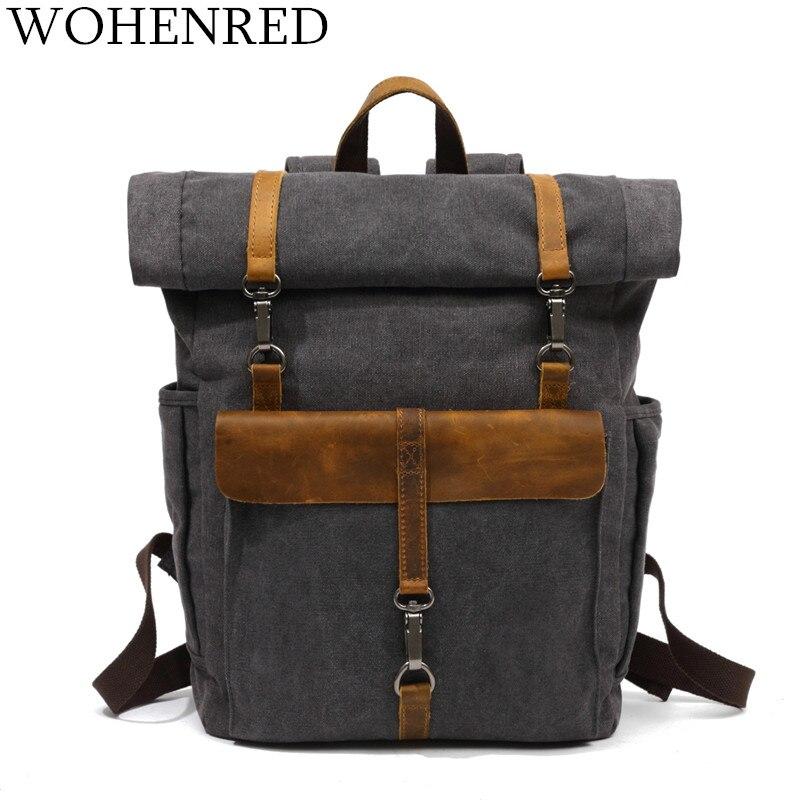 2018 das mulheres dos homens do vintage mochilas de lona sacos de escola para adolescentes meninos meninas grande capacidade mochila portátil moda