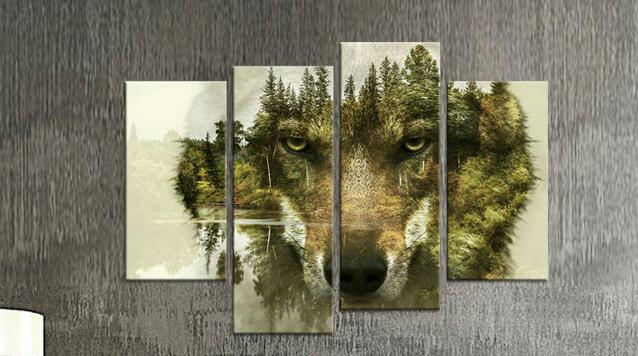 Recentes 4 painéis sem moldura pinturas de parede lobo projeta pinturas  para parede da sala de arte Moderna da lona fotos e2edbecc5e