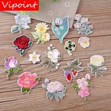 VIPOINT embroidery rose patches flower badges applique for clothing YX-53
