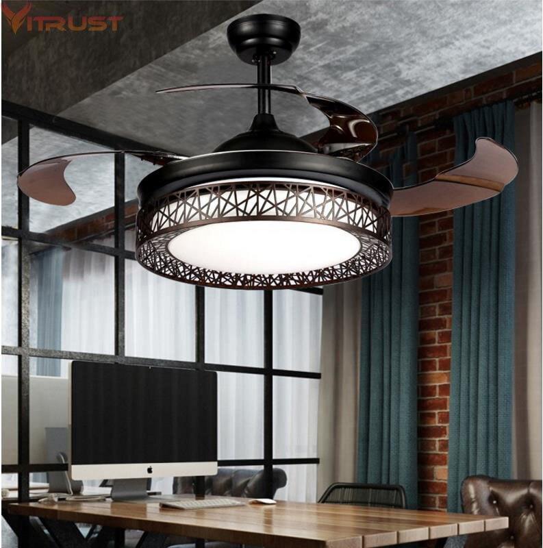 Ventilateur de Plafond moderne Lumières Lampes Télécommande ventilador de techo ventilateur plafond sans lumiere Ventilateur Éclairage salle À Manger Lit
