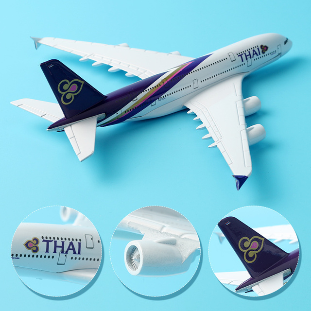 16cm Thai Airline A380 Plane Model alloy model aviation model Aircraft Thailand Airways A380 Airplane Model Stand Craft 1:400 3