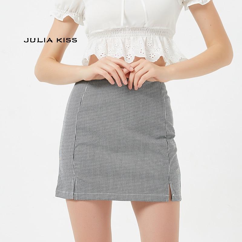 Women Splits Front Check Mini Skirt