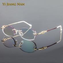Yi Jiang Nan Brand Diamond Trimmed Pure Titanium Women Prescription Fashion Frame Eye Glasses Colored Lenses with Stone