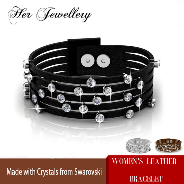 Her Jewellery 3 color Faux Leather Trendy bracelets womens bracelet Made with crystals from Swarovski HB0072
