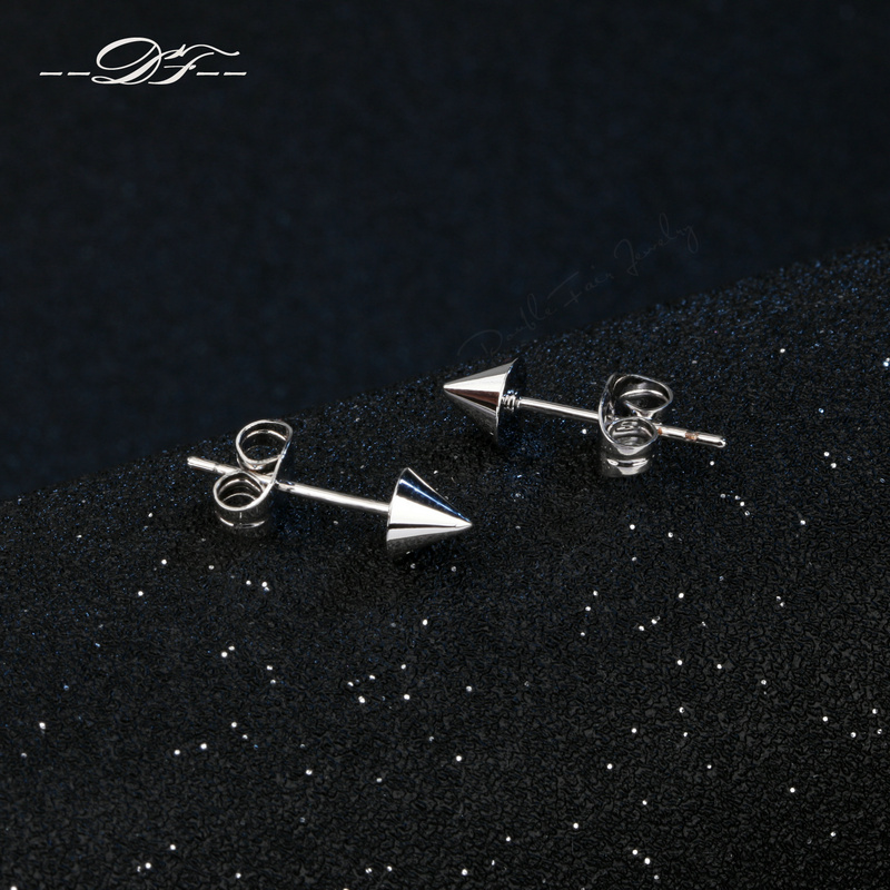 White Rose Gold Color Anti Allergy Stud Spike Earrings Fashis