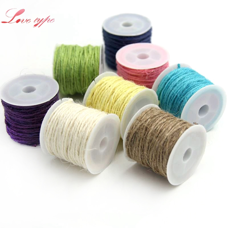 10M/Lot New Arrival Colorful Natural Hessian Jute Twine Rope Burlap Ribbon DIY Craft Vintage For Home Wedding Party Decoration