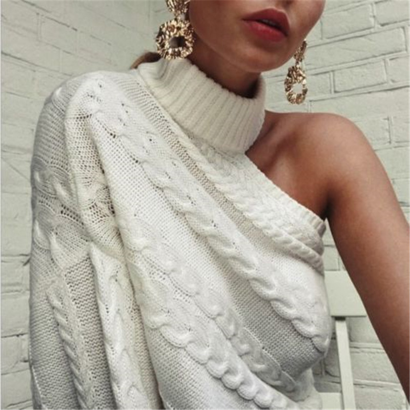 One-Shoulder Sweater Outwear Pullover Women Clothes Knitted Turtle-Neck Long-Sleeve Trendy