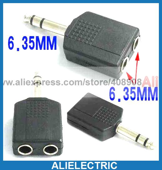 50pcs/lot x Stereo 6.35 mm 1/4inch to 6.35 Socket Jack Audio Adapter цена