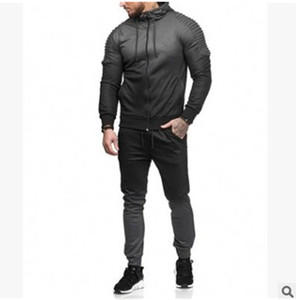 Image 2 - Litthing Zipper Tracksuit Men Set Sport 2 Pieces Sweatsuit Mens Clothes Printed Hooded Hoodies Jacket & Pants Track Suit Men