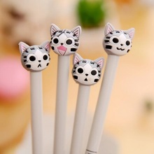 1pcs/lot 3D 0.5mm Black Ink Cheese Cat Gel Pen Cute Soft Silicone Head Water Pen  For School Writing Gifts Stationery 4pcs lot 0 5mm cheese cat head pendant gel pen promotional gift stationery school