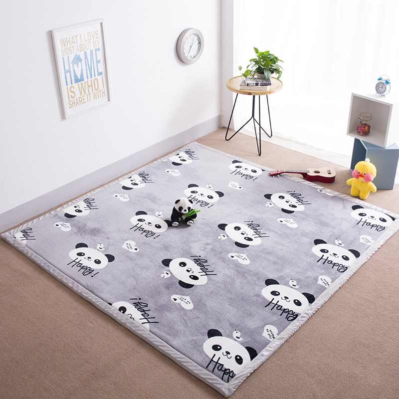Infant Shining Short Plush Mat 2CM Thickness Coral Velvet Cushion 200x200CM Large Baby Play Mat Living Room Machine Washable Pad
