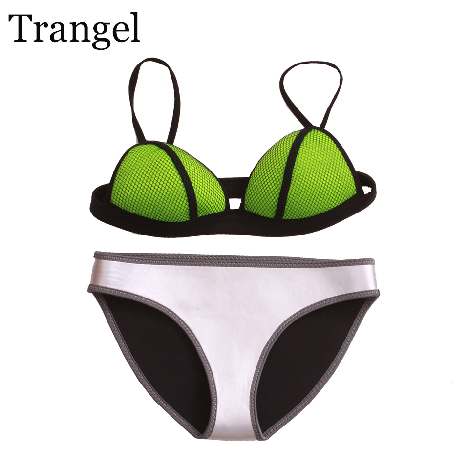 Trangel Sexy Women Bikini Set Push Up Swimwear Patchwork Swimsuit Beach Wear Bandeau Bikini Swimming Suit Summer Bathing Suit XL