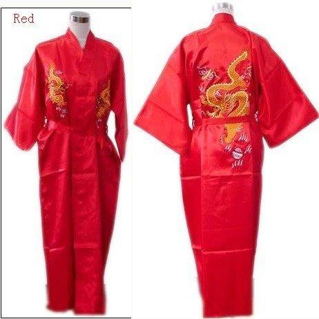 42153833eb Hot Sale Red Chinese Men s Silk Satin Robe Embroidery Dragon Kimono Bath  Gown SIZE M L XL XXL 3XL S0103-1