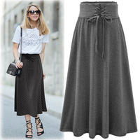High Quality New Spring and Summer 2017 High Waist Bandage Solid Pleated Skirt All-match Women Saias