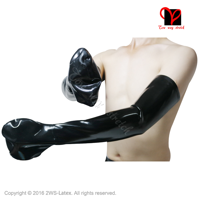 Sexy Black Latex Long <font><b>Gloves</b></font> Fingerless Rubber Fisting Mitts Restrains Gauntlet BDSM Ball Strait Mittens XXXL plus size
