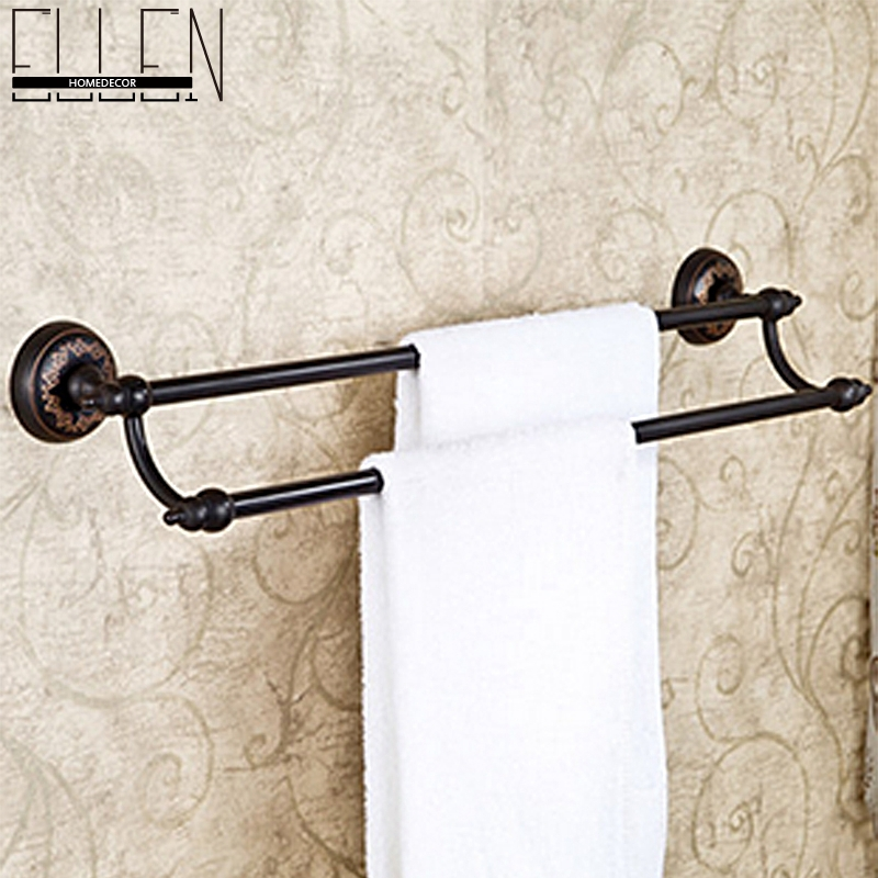 dual towel bar classic oil rubbed bronze towel rack towel rail black towel holder bathroom accessories in towel bars from home improvement on aliexpresscom
