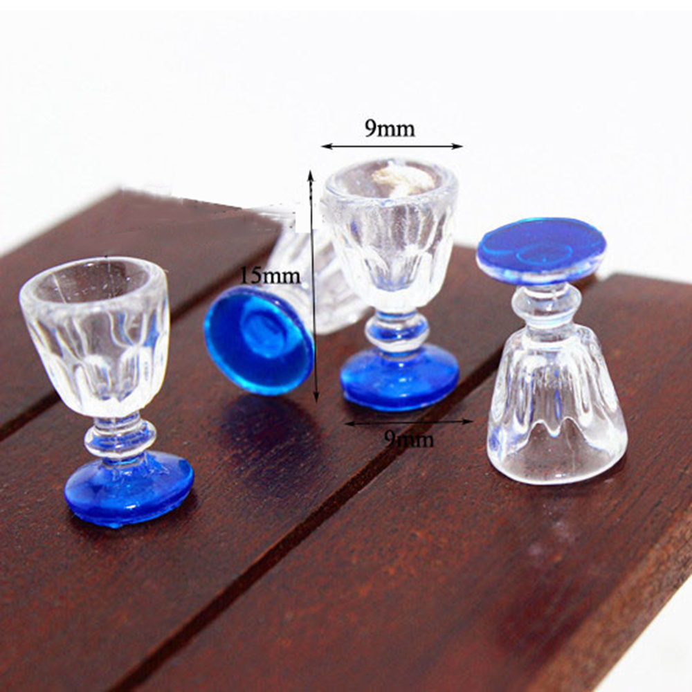 4Pcs 1/12 Dollhouse Miniature Accessories Mini Resin Wine Glasses Simulation Goblet Model Toys for Doll House Decoration