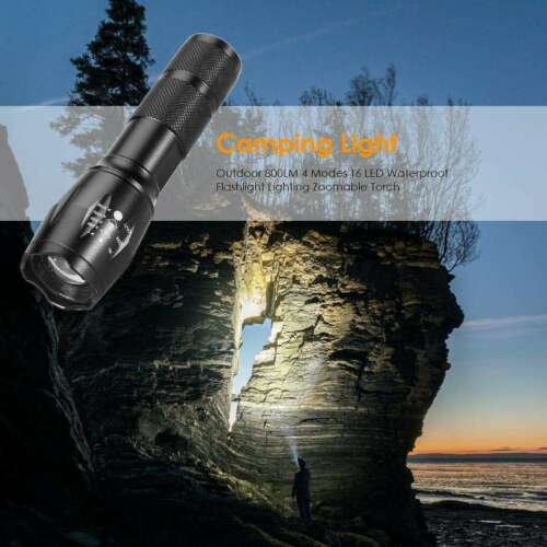 Outdoor 800LM 4 Modes T6 LED Waterproof Flashlight Lighting Zoomable Torch