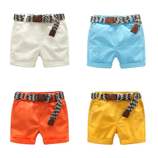 993de2effa99 DE PEACH Solid Color Baby Boys Casual Shorts Pants Children Loose Pants  Summer Toddler Kids Clothes Cotton Boys Shorts Free Belt
