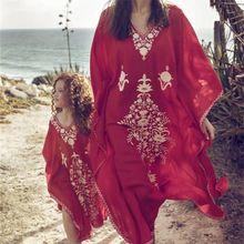Women Summer Red Color Long Sleeve V-Neck Cotton Plus Size Kaftan Dress S-5XL