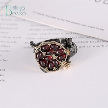 BOAKO Vintage Pomegranate Rings For Women Men Punk Style Fashion Jewelry Charm Red Round Crystal Stone Ring Party