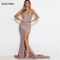 Joyfunear New Strapless Sequin Summer Dress 2018 Women Mermaid Maxi Dress Elegant Sexy Bodycon Long Dresses Party Vestidos
