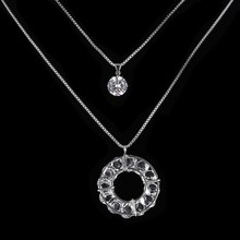 Fashion Crystal Necklace Silver Color Box Chain Big Circle Pedant Necklaces For Women Long Multilayer Chain