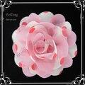 Free shipping!24PCS/LOT  6cm New chiffon polka dots flowers silk flower girl  Corsage