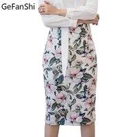 S 5XL 2017 Spring Summer Bandage Pencil Skirts Women S High Waist Slim Novelty Print Fashion