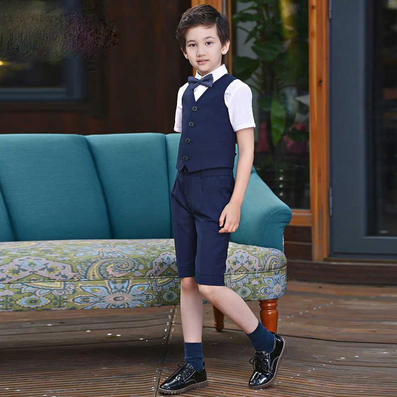 Zomer Jongens Prom Pakken voor Bruiloften Outfit Blazer Kids kleding Smoking Korte Mouw + Vest + shorts 3 PCS kostuum Met BowTie