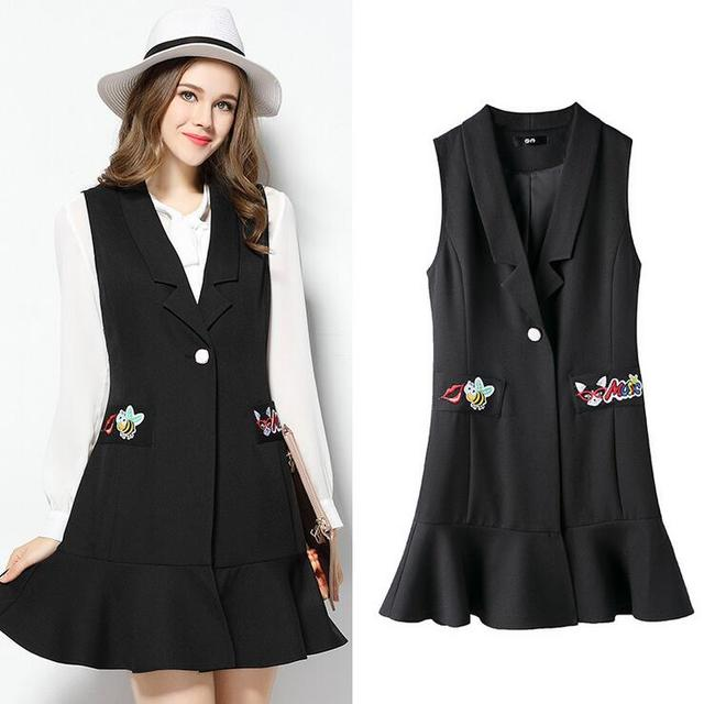 OCHANAL Black Color Vest Dress for Women 2017 Spring Ruffles Sleeveless Turn-down Collar Vest Coat 5XL Plus Size Women's Vest