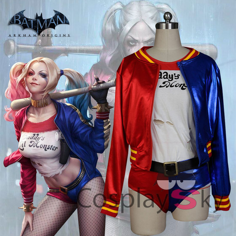 Suicide Squad (Movie) Harley Quinn Cosplay Costume Halloween Uniform Coat+Shirt+Pants+Belt+Gloves+Wigs