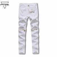 Aelfric Eden NEW Fear Of God Men Jeans White Hole Hip Hop Denim Pants Gold Zipper