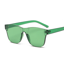 5d1909122 الملونة مربع النظارات الشمسية النساء نظارات بدون شفة نظارات الشمس للرجال  سيامي الحلوى مكبرة فرملس أحمر أخضر رمادي نظارات