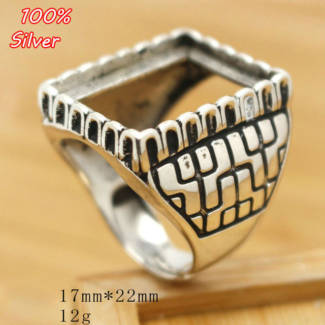 cf5248413dbf7 100 Sterling Silver 925 Jewelry Adjustable Ring For Man Blank Fit 17x22MM  Setting Square Stone Antique