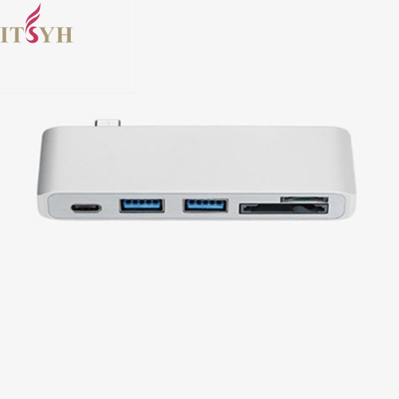 ITSYH USB-c Type-C HUB Thunderbolt 3 Dock 5 In 1 USB-C Adapter Dongle Combo with USB 3.0 Ports TF Slot Micro SD Card LF03-304 usb type c hub to hdmi 4k usb c adapter dongle dock thunderbolt 3 combo with usb 3 0 ports sd slot micro sd card for macbook pro