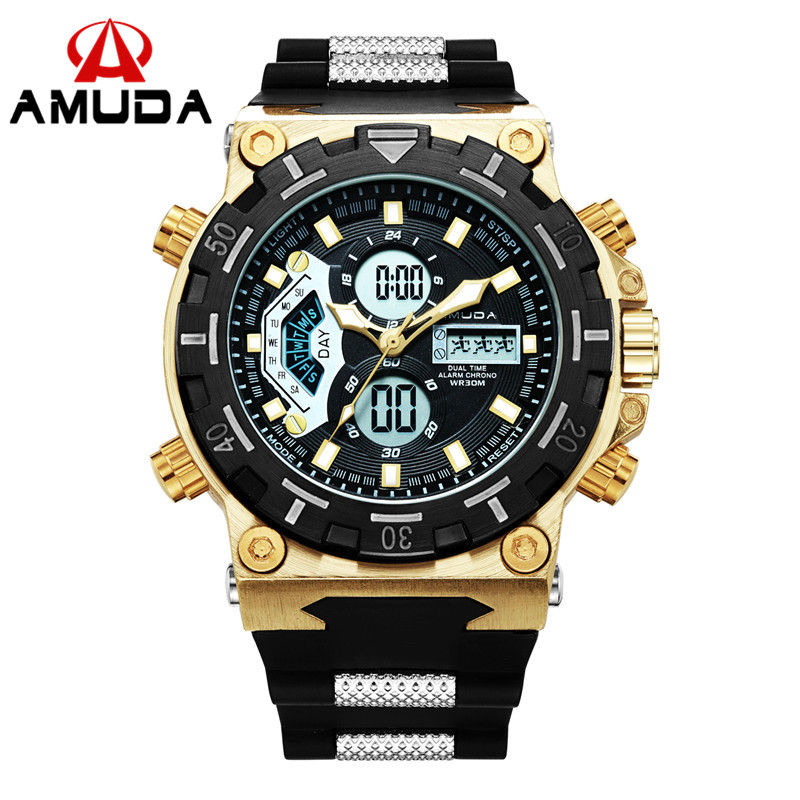 Amuda Gold Relogio Masculino Top Brand Luxury Mens Watches Analog-Digital Male Wristwatches Casual Led Sport Mens Clocks analog watch