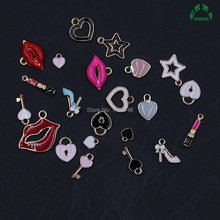 Gold enamel heart charm enamel charms for jewelry Lock Moon Pink Red Key Charms Jewelry Making charms Lip Lipstick Charms 10 pcs charms for jewelry making floating charms enamel charms zinc alloy sun moon