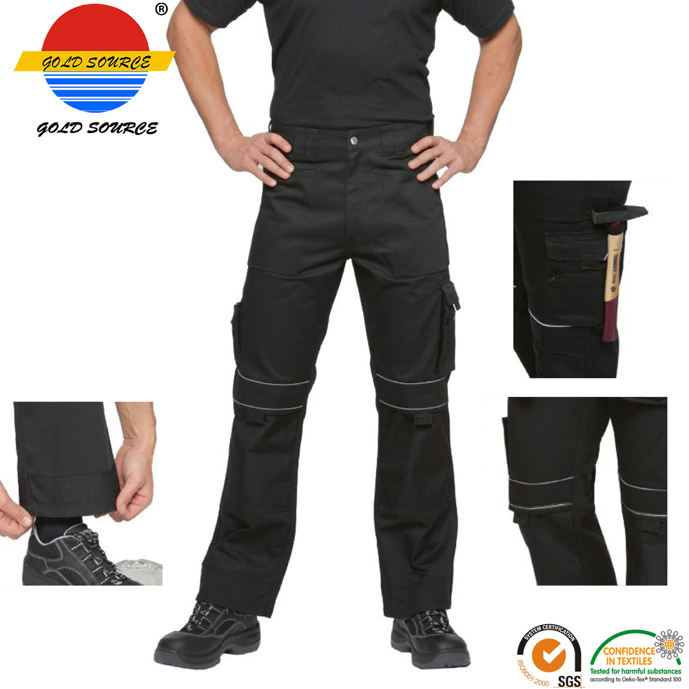 Modern Workwear Craftsman Durable Trousers Black Work Pants with Cordura Knees